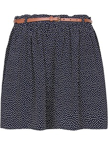 Dot Print Mini Skirt, Navy - length: mid thigh; fit: loose/voluminous; pattern: polka dot; waist detail: belted waist/tie at waist/drawstring; waist: mid/regular rise; secondary colour: white; predominant colour: navy; occasions: casual, holiday; style: mini skirt; fibres: polyester/polyamide - 100%; hip detail: ruching/gathering at hip; texture group: cotton feel fabrics; pattern type: fabric; pattern size: small & light