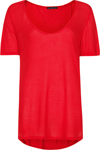 Long T Shirt, Valentino Red - pattern: plain; style: t-shirt; predominant colour: true red; occasions: casual; length: standard; neckline: scoop; fibres: viscose/rayon - 100%; fit: straight cut; back detail: longer hem at back than at front; sleeve length: short sleeve; sleeve style: standard; pattern type: fabric; pattern size: standard; texture group: jersey - stretchy/drapey