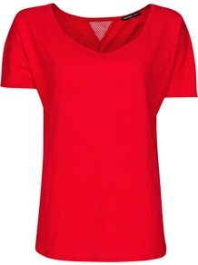 Mesh Panel T Shirt, Valentino Red - neckline: round neck; pattern: plain; style: t-shirt; back detail: contrast pattern/fabric at back; predominant colour: true red; occasions: casual, holiday; length: standard; fibres: cotton - 100%; fit: straight cut; sleeve length: short sleeve; sleeve style: standard; texture group: cotton feel fabrics; trends: sporty redux; pattern type: fabric; pattern size: standard