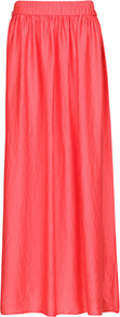 Satin Long Skirt, Coral - pattern: plain; fit: loose/voluminous; waist detail: elasticated waist; waist: mid/regular rise; predominant colour: coral; occasions: casual, evening, holiday; length: floor length; style: maxi skirt; fibres: polyester/polyamide - 100%; hip detail: soft pleats at hip/draping at hip/flared at hip; texture group: silky - light; pattern type: fabric