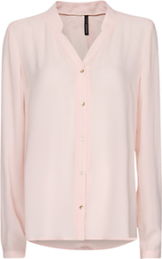 Loose Fit Sheer Blouse, Pink - neckline: v-neck; pattern: plain; length: below the bottom; style: blouse; predominant colour: blush; occasions: casual, evening, work; fibres: polyester/polyamide - 100%; fit: straight cut; sleeve length: long sleeve; sleeve style: standard; texture group: silky - light; pattern type: fabric