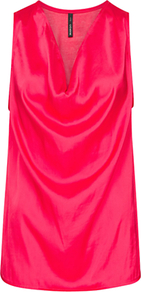 Draped Satin Top, Coral - neckline: cowl/draped neck; pattern: plain; sleeve style: sleeveless; style: vest top; bust detail: ruching/gathering/draping/layers/pintuck pleats at bust; predominant colour: hot pink; occasions: casual, evening; length: standard; fibres: polyester/polyamide - 100%; fit: loose; sleeve length: sleeveless; texture group: silky - light; pattern type: fabric
