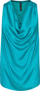 Draped Satin Top, Emerald Green - neckline: cowl/draped neck; pattern: plain; sleeve style: sleeveless; bust detail: ruching/gathering/draping/layers/pintuck pleats at bust; predominant colour: emerald green; occasions: evening, occasion, holiday; length: standard; style: top; fibres: polyester/polyamide - 100%; fit: straight cut; sleeve length: sleeveless; texture group: silky - light; pattern type: fabric