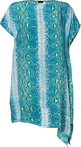Emerald Multi Snake Print Elle Dress - neckline: slash/boat neckline; sleeve style: dolman/batwing; fit: loose; predominant colour: teal; secondary colour: light grey; occasions: casual, evening, holiday; length: just above the knee; style: asymmetric (hem); fibres: silk - 100%; hip detail: soft pleats at hip/draping at hip/flared at hip; sleeve length: short sleeve; texture group: sheer fabrics/chiffon/organza etc.; trends: statement prints; pattern type: fabric; pattern size: big & busy; pattern: animal print