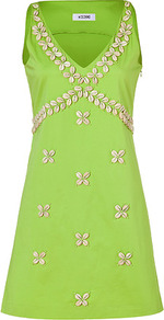 Lime Green Seashell Embroidered Cotton Blend Dress - style: shift; length: mid thigh; neckline: low v-neck; pattern: plain; sleeve style: sleeveless; bust detail: added detail/embellishment at bust; predominant colour: lime; occasions: evening, occasion; fit: soft a-line; fibres: cotton - mix; sleeve length: sleeveless; texture group: cotton feel fabrics; trends: fluorescent; pattern type: fabric; embellishment: beading