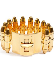 Gold Tone Bullet Casing Cuff - predominant colour: gold; occasions: evening, work, occasion; style: cuff; size: large/oversized; material: chain/metal; finish: metallic; embellishment: chain/metal