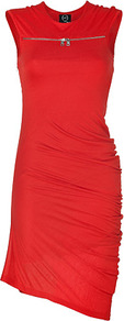 Cadmium Red Asymmetrical Jersey Dress - pattern: plain; sleeve style: sleeveless; bust detail: added detail/embellishment at bust; waist detail: fitted waist; predominant colour: true red; occasions: evening, occasion; length: just above the knee; fit: body skimming; style: asymmetric (hem); fibres: viscose/rayon - 100%; neckline: crew; hip detail: ruching/gathering at hip; sleeve length: sleeveless; pattern type: fabric; texture group: jersey - stretchy/drapey