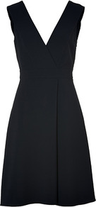 Navy Fake Wrap Style Dress - style: faux wrap/wrap; neckline: low v-neck; fit: empire; pattern: plain; sleeve style: sleeveless; waist detail: fitted waist; back detail: low cut/open back; predominant colour: black; occasions: evening, occasion; length: just above the knee; fibres: polyester/polyamide - mix; hip detail: soft pleats at hip/draping at hip/flared at hip; sleeve length: sleeveless; texture group: crepes; pattern type: fabric