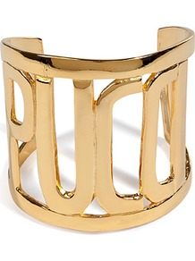 Gold Tone Pucci Cuff - predominant colour: gold; occasions: evening, work, occasion, holiday; style: cuff; size: large/oversized; material: chain/metal; finish: metallic; embellishment: chain/metal