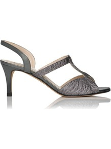 Losari Rope Lurex Metallic Slingback Silver Pewter - predominant colour: charcoal; occasions: evening, occasion; material: fabric; heel height: mid; heel: stiletto; toe: open toe/peeptoe; style: strappy; trends: metallics; finish: plain; pattern: plain