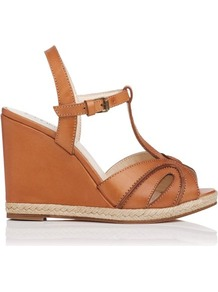 Milos Leather T Bar Wedge Tan - predominant colour: tan; occasions: casual, holiday; material: leather; heel height: high; embellishment: buckles; ankle detail: ankle strap; heel: wedge; toe: open toe/peeptoe; style: strappy; finish: plain; pattern: plain
