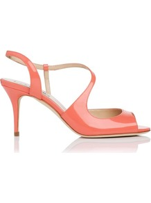 Palmita Patent Leather Asymmetric Strappy Sandal Orange Peach - predominant colour: coral; occasions: evening, occasion; material: leather; heel height: high; ankle detail: ankle strap; heel: stiletto; toe: open toe/peeptoe; style: strappy; finish: patent; pattern: plain