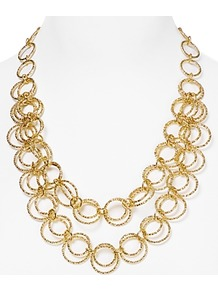 Short Hammered Circle Necklace - predominant colour: gold; occasions: casual, evening, work, occasion, holiday; style: multistrand; length: mid; size: standard; material: chain/metal; finish: metallic; embellishment: chain/metal