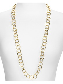 Long Hammered Circle Chain Necklace - predominant colour: gold; occasions: evening, work, occasion, holiday; style: standard; length: long; size: standard; material: chain/metal; trends: metallics; finish: plain; embellishment: chain/metal