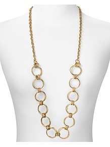 Long Open Circle Chain Necklace - predominant colour: gold; occasions: evening, work, occasion, holiday; style: standard; length: long; size: large/oversized; material: chain/metal; trends: metallics; finish: plain; embellishment: chain/metal