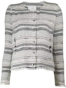 Lizzie Jacket - pattern: horizontal stripes; collar: round collar/collarless; style: boxy; predominant colour: ivory; occasions: casual, work; length: standard; fit: straight cut (boxy); fibres: cotton - mix; sleeve length: long sleeve; sleeve style: standard; collar break: high; pattern type: fabric; pattern size: standard; texture group: woven light midweight
