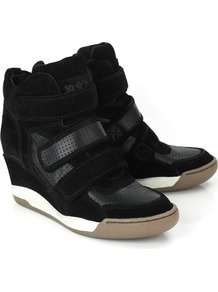 Alex Black Wedge Hi Top Trainer - predominant colour: black; occasions: casual; material: suede; heel height: mid; heel: wedge; toe: round toe; boot length: ankle boot; style: high top; trends: sporty redux; finish: plain; pattern: plain