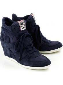 Bowie Wedge Trainer In Navy - predominant colour: navy; occasions: casual; material: suede; heel height: mid; heel: wedge; toe: round toe; boot length: ankle boot; style: high top; trends: sporty redux; finish: plain; pattern: plain