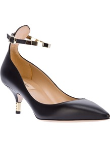 Pointed Toe Pump - predominant colour: black; occasions: evening, work, occasion; material: leather; heel height: mid; ankle detail: ankle strap; heel: kitten; toe: pointed toe; style: courts; finish: plain; pattern: plain