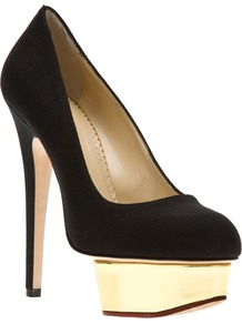 'Dolly' Pump - secondary colour: gold; predominant colour: black; occasions: evening, occasion; material: fabric; heel: platform; toe: round toe; style: courts; finish: plain; pattern: plain; heel height: very high