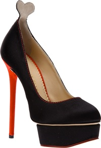 'Josephine' Pump - predominant colour: black; occasions: evening, occasion; material: satin; heel: platform; toe: round toe; style: courts; finish: plain; pattern: plain; heel height: very high