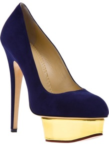 'Dolly' Pump - predominant colour: royal blue; secondary colour: gold; occasions: evening, occasion; material: suede; heel: platform; toe: round toe; style: courts; finish: plain; pattern: plain; heel height: very high