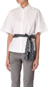 Belted Shirt - neckline: shirt collar/peter pan/zip with opening; pattern: plain; style: shirt; waist detail: belted waist/tie at waist/drawstring; predominant colour: white; secondary colour: navy; occasions: casual, work; length: standard; fibres: cotton - 100%; fit: tailored/fitted; sleeve length: half sleeve; sleeve style: standard; texture group: cotton feel fabrics; pattern type: fabric