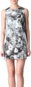 Botanical Print Dress - style: shift; length: mini; sleeve style: sleeveless; predominant colour: charcoal; secondary colour: light grey; occasions: evening, holiday; fit: soft a-line; fibres: cotton - 100%; neckline: crew; sleeve length: sleeveless; texture group: cotton feel fabrics; trends: high impact florals; pattern type: fabric; pattern size: big &amp; busy; pattern: florals