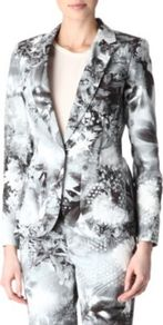 Floral Blazer - style: single breasted blazer; collar: standard lapel/rever collar; secondary colour: turquoise; predominant colour: charcoal; occasions: evening, work, occasion; length: standard; fit: tailored/fitted; fibres: cotton - 100%; sleeve length: long sleeve; sleeve style: standard; trends: high impact florals, statement prints; collar break: medium; pattern type: fabric; pattern size: big & busy; pattern: florals; texture group: other - light to midweight