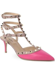So Noir Leather Sandals - predominant colour: hot pink; secondary colour: stone; occasions: evening, occasion; material: leather; heel height: mid; embellishment: studs; ankle detail: ankle strap; heel: stiletto; toe: pointed toe; style: t-bar; finish: plain; pattern: colourblock