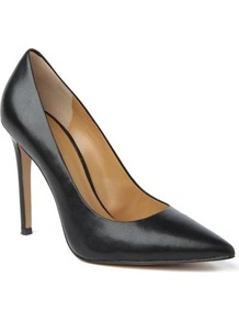 Goodlookin Leather Courts - predominant colour: black; occasions: evening, work, occasion; material: leather; heel height: high; heel: stiletto; toe: pointed toe; style: courts; finish: plain; pattern: plain