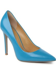 Goodlookin Leather Courts - predominant colour: diva blue; occasions: evening, work, occasion; material: leather; heel height: high; heel: stiletto; toe: pointed toe; style: courts; finish: plain; pattern: plain