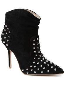 Wild Studded Ankle Boots - predominant colour: black; occasions: casual, evening; material: suede; heel height: high; embellishment: studs; heel: stiletto; toe: pointed toe; boot length: ankle boot; style: standard; finish: plain; pattern: plain