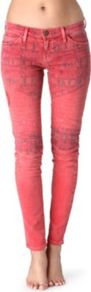 The Moto Skinny Low Rise Jeans - style: skinny leg; length: standard; pocket detail: traditional 5 pocket; waist: mid/regular rise; predominant colour: coral; occasions: casual; fibres: cotton - stretch; texture group: denim; pattern type: fabric; pattern size: small &amp; light; pattern: patterned/print