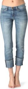 Beatnik Skinny Mid Rise Jeans - style: skinny leg; pattern: plain; pocket detail: traditional 5 pocket; waist: mid/regular rise; predominant colour: denim; occasions: casual; length: calf length; fibres: cotton - stretch; jeans detail: shading down centre of thigh; jeans & bottoms detail: turn ups; texture group: denim; pattern type: fabric