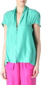 Winton Top - neckline: v-neck; pattern: plain; style: blouse; bust detail: buttons at bust (in middle at breastbone)/zip detail at bust; predominant colour: mint green; occasions: casual, evening, work, holiday; length: standard; fibres: silk - 100%; fit: loose; sleeve length: short sleeve; sleeve style: standard; texture group: silky - light; pattern type: fabric