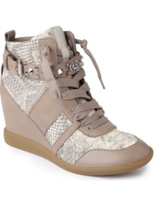 Brogan Leather Wedge Trainers - predominant colour: taupe; secondary colour: light grey; occasions: casual, evening; material: leather; heel height: mid; embellishment: buckles; heel: wedge; toe: round toe; boot length: ankle boot; style: high top; trends: sporty redux; finish: plain; pattern: animal print