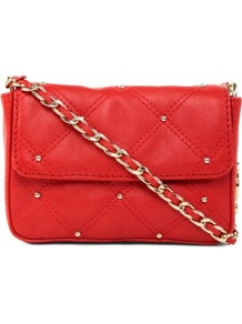 Frankie Cross Body Bag - predominant colour: true red; occasions: casual, evening, occasion; style: messenger; length: across body/long; size: small; material: leather; embellishment: studs; pattern: plain; finish: plain