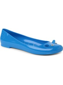 Mouse Rubber Pumps - predominant colour: diva blue; occasions: casual; material: plastic/rubber; heel height: flat; embellishment: studs; toe: round toe; style: ballerinas / pumps; finish: plain; pattern: plain