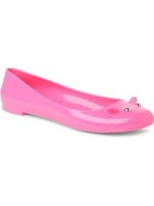 Mouse Rubber Pumps - predominant colour: pink; occasions: casual; material: plastic/rubber; heel height: flat; embellishment: studs; toe: round toe; style: ballerinas / pumps; finish: plain; pattern: plain