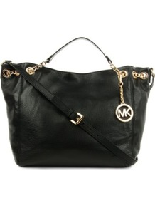 Jet Set Chain Large Tote - predominant colour: black; occasions: casual, work; style: tote; length: handle; size: standard; material: leather; pattern: plain; finish: plain; embellishment: chain/metal