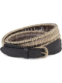 Leather And Steel Belt - predominant colour: gold; secondary colour: black; occasions: casual, evening; type of pattern: light; style: classic; size: standard; worn on: hips; material: leather; pattern: animal print; finish: plain; embellishment: chain/metal