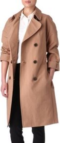 Fair Lady Trench Coat - pattern: plain; style: trench coat; length: on the knee; collar: standard lapel/rever collar; predominant colour: camel; occasions: casual; fit: straight cut (boxy); fibres: cotton - 100%; sleeve length: long sleeve; sleeve style: standard; texture group: cotton feel fabrics; collar break: medium; pattern type: fabric