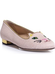 Kitty Embroidered Slippers - predominant colour: blush; occasions: casual, evening, work, holiday; material: fabric; heel height: flat; embellishment: embroidered; toe: round toe; style: ballerinas / pumps; finish: plain; pattern: patterned/print