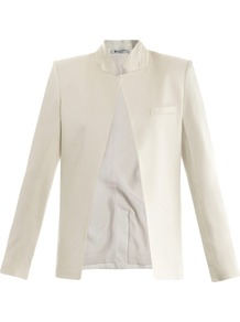 Satin Jacket - pattern: plain; style: single breasted blazer; collar: standard lapel/rever collar; predominant colour: ivory; occasions: evening, occasion; length: standard; fit: tailored/fitted; fibres: polyester/polyamide - mix; sleeve length: long sleeve; sleeve style: standard; texture group: structured shiny - satin/tafetta/silk etc.; collar break: low/open; pattern type: fabric; pattern size: standard