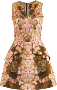 Rose Petal Print Dress - neckline: v-neck; sleeve style: sleeveless; waist detail: fitted waist; predominant colour: blush; occasions: evening, occasion; length: just above the knee; fit: fitted at waist &amp; bust; style: fit &amp; flare; fibres: cotton - mix; sleeve length: sleeveless; trends: statement prints, volume; pattern type: fabric; pattern size: small &amp; busy; pattern: patterned/print; texture group: other - bulky/heavy
