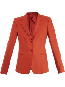 Bondone Jacket - pattern: plain; style: single breasted blazer; collar: standard lapel/rever collar; predominant colour: coral; occasions: casual, work, occasion; length: standard; fit: tailored/fitted; fibres: linen - 100%; sleeve length: long sleeve; sleeve style: standard; texture group: linen; collar break: medium; pattern type: fabric