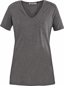 Pocket T Shirt - neckline: v-neck; pattern: plain; style: t-shirt; bust detail: pocket detail at bust; predominant colour: charcoal; occasions: casual; length: standard; fibres: polyester/polyamide - 100%; fit: straight cut; sleeve length: short sleeve; sleeve style: standard; pattern type: fabric; texture group: jersey - stretchy/drapey