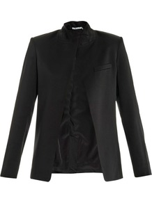 Satin Jacket - pattern: plain; style: single breasted blazer; collar: standard lapel/rever collar; predominant colour: black; occasions: evening, occasion; length: standard; fit: tailored/fitted; fibres: polyester/polyamide - mix; sleeve length: long sleeve; sleeve style: standard; texture group: structured shiny - satin/tafetta/silk etc.; collar break: low/open; pattern type: fabric; pattern size: standard