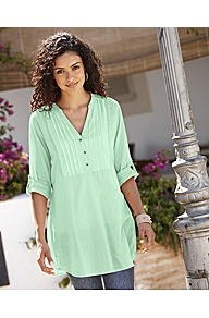 Pintuck Shirt With Roll Up Sleeve - pattern: plain; style: shirt; bust detail: ruching/gathering/draping/layers/pintuck pleats at bust; predominant colour: mint green; occasions: casual, holiday; neckline: mandarin with v-neck; fibres: cotton - 100%; fit: loose; length: mid thigh; sleeve length: long sleeve; sleeve style: standard; texture group: cotton feel fabrics; pattern type: fabric